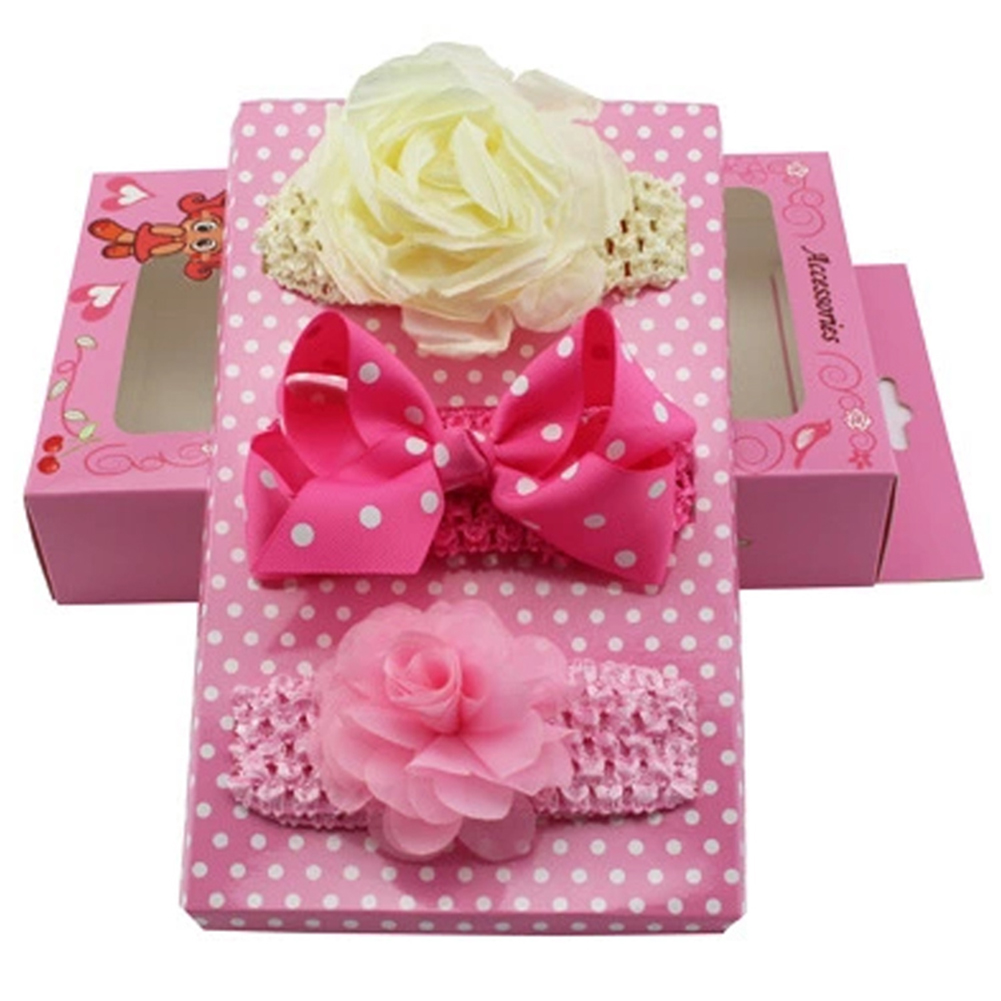 Baby Girls Bowknot Headband Hairbands Hair Band Accessories with Gift Box