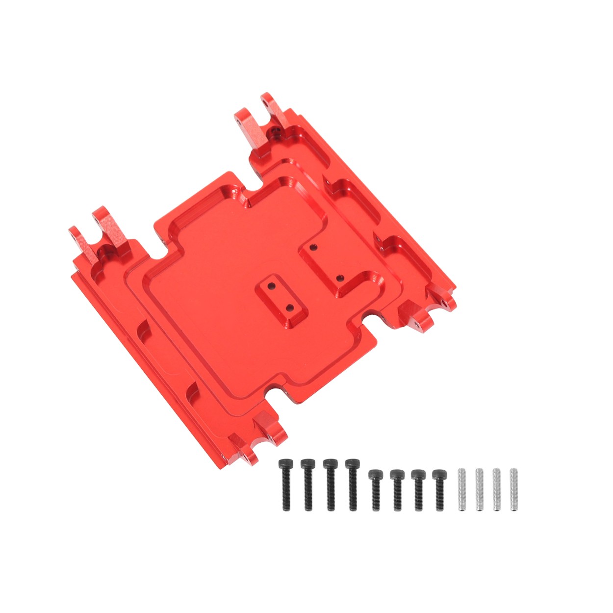 Center Gear Box Mount CNC Aluminum Skid Plate For 1:10 RC Crawler Car Axial Wraith 90018 red