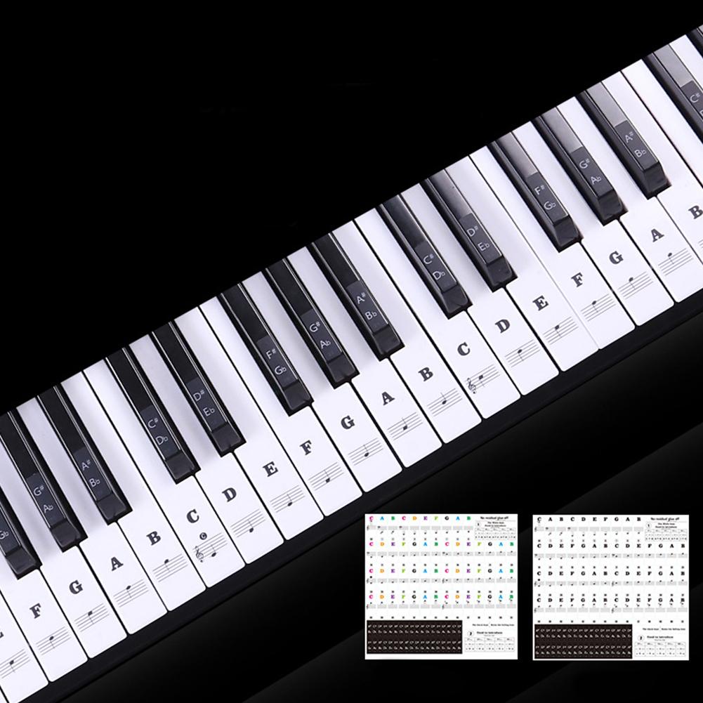 Transparent Piano Keyboard Sticker 88 Keys Electronic Keyboard Piano Sticker  Black