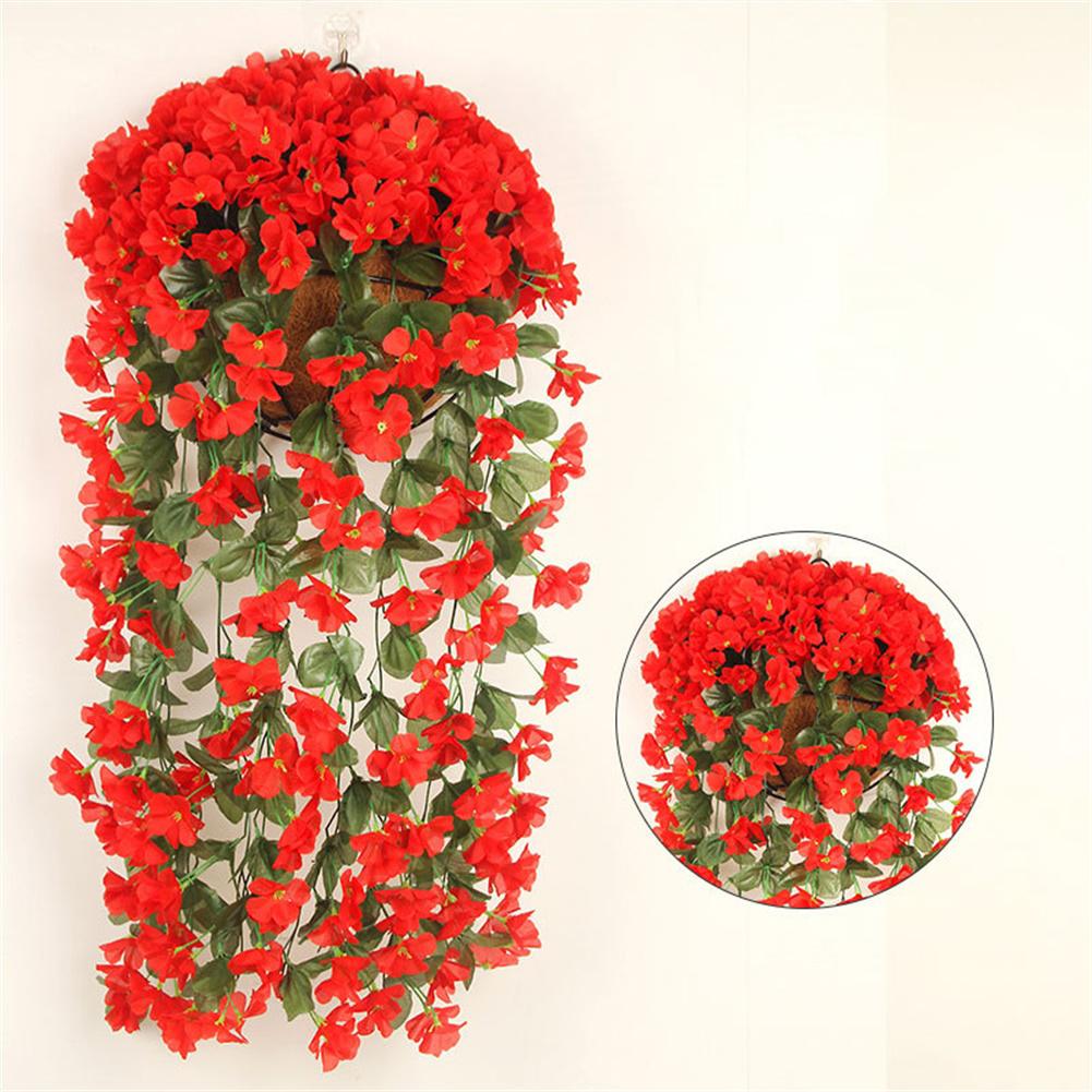 1 Bunch  Of Wall-mounted  Flower Silk Flower Simulation Chlorophytum Decorative Fake Flower Scarlet