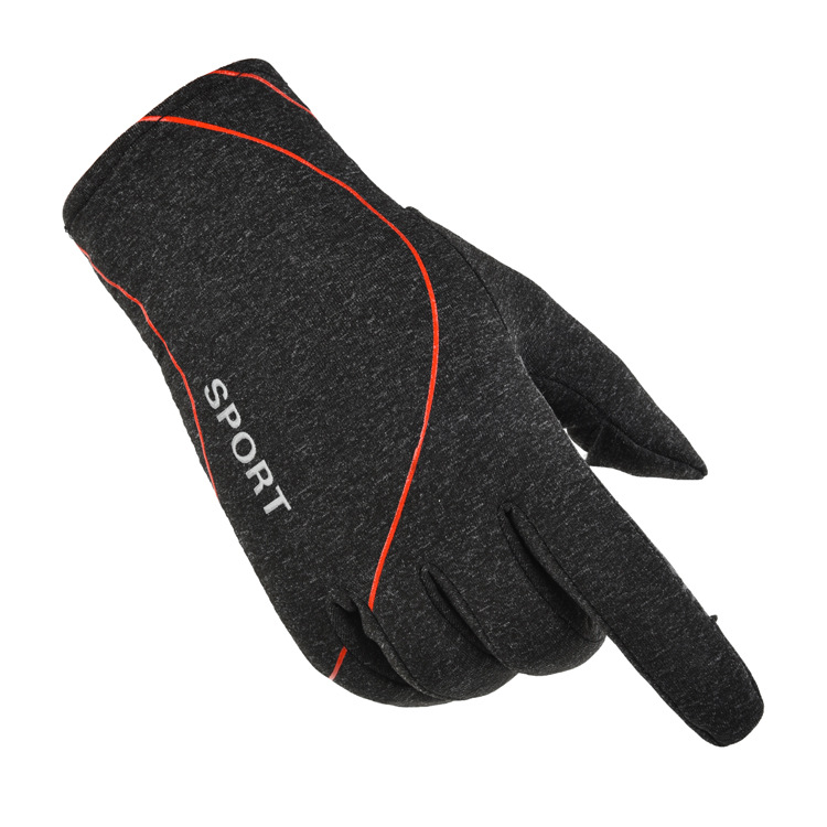 Fleece Gloves Autumn Winter Warm Gloves Elastic Non-slip Gloves With Exposed Two Fingers Dark gray with hood_One size