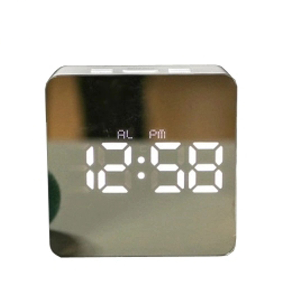 Simple Home Multi-Function LED Digital Alarm Clock PVC Rectangular Light TS-S70-W