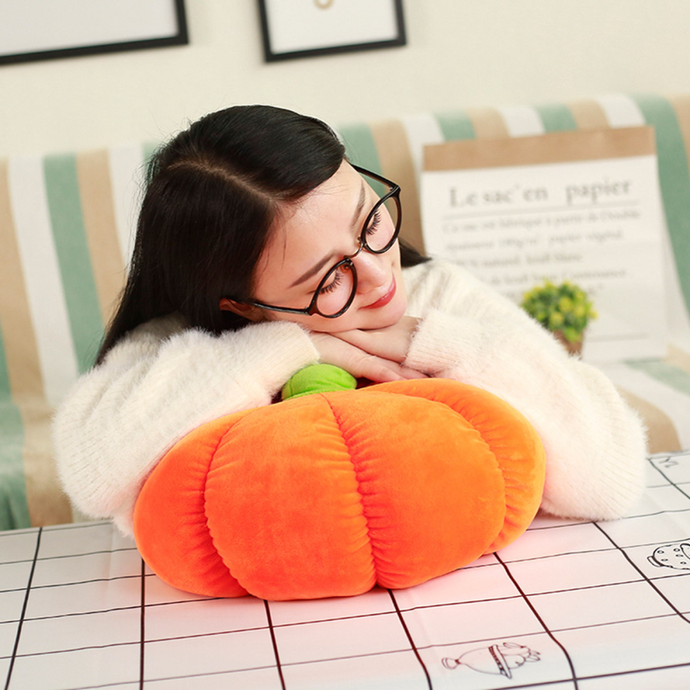 Soft Stuffed Pumpkin Fluffy Pumpkin Plush Toy Halloween Pumpkins Decorative Couch Throw Pillow for Kids Toddlers Babies Orange Orange