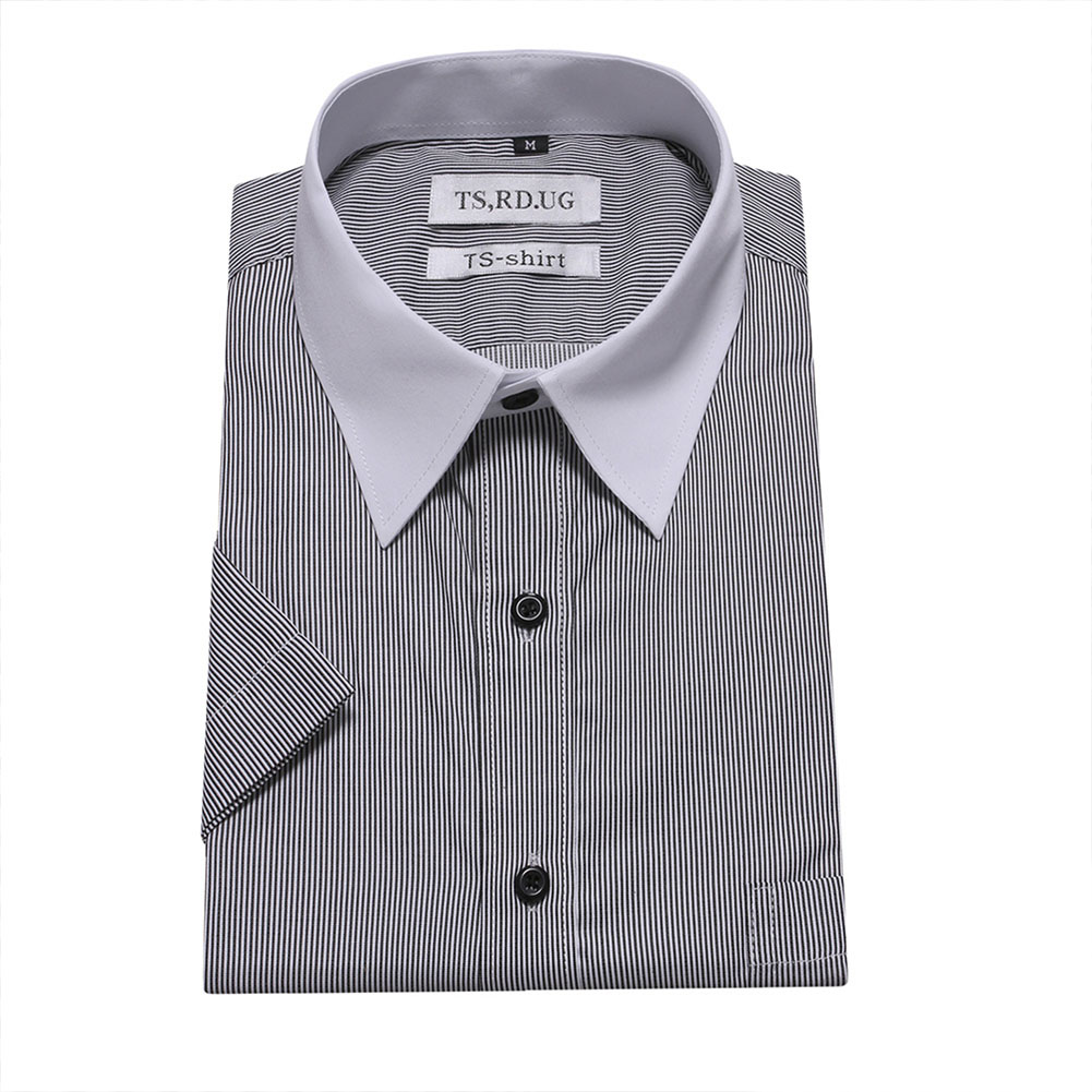 Men Short Sleeve Formal Shirt Casual Business Autumn Lapel Adults Tops black_L