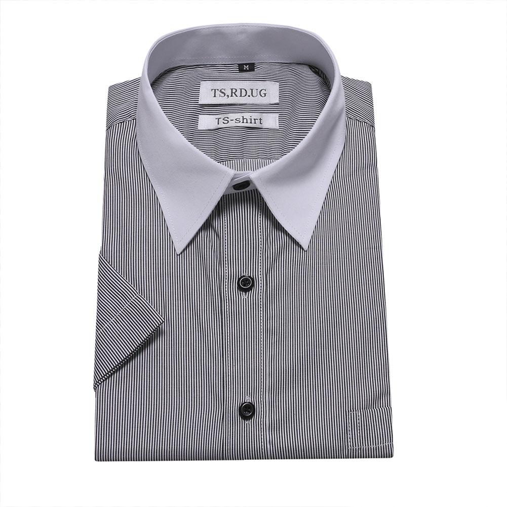Men Short Sleeve Formal Shirt Casual Business Autumn Lapel Adults Tops black_M