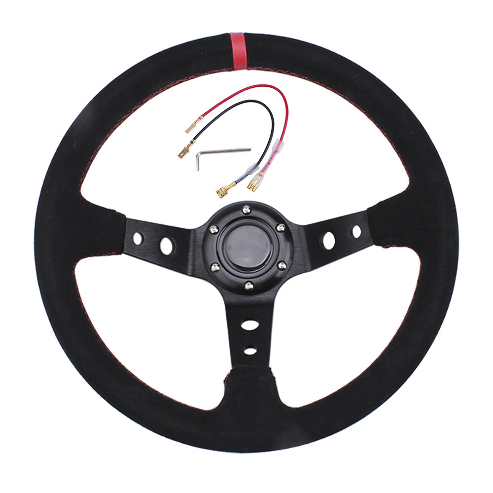14 Inch 350mm Modified Suede Leather Steering Wheel Automobile Deep Corn Drifting Race Steering Wheel Red