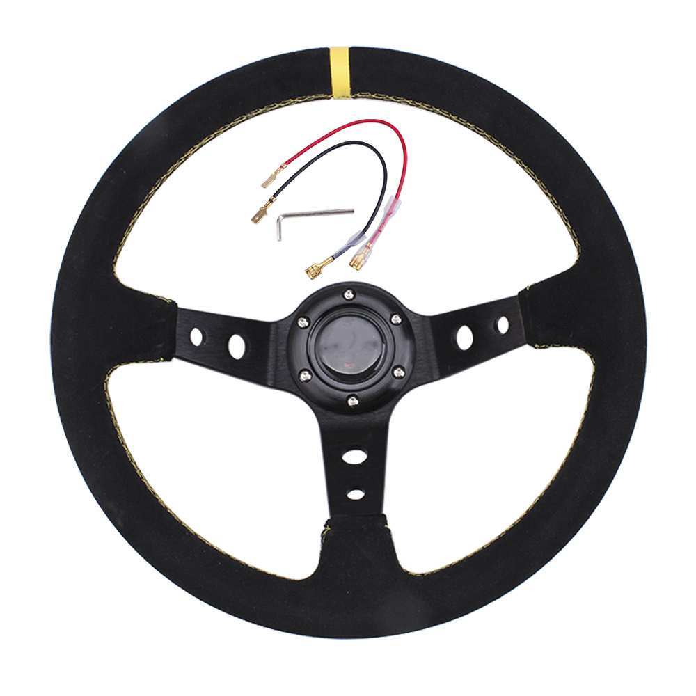 14 Inch 350mm Modified Suede Leather Steering Wheel Automobile Deep Corn Drifting Race Steering Wheel Yellow