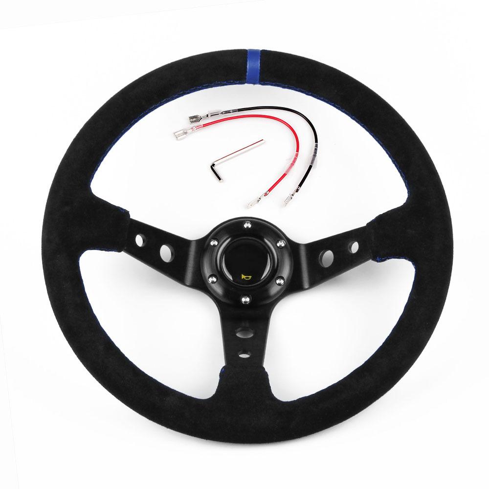 14 Inch 350mm Modified Suede Leather Steering Wheel Automobile Deep Corn Drifting Race Steering Wheel Blue