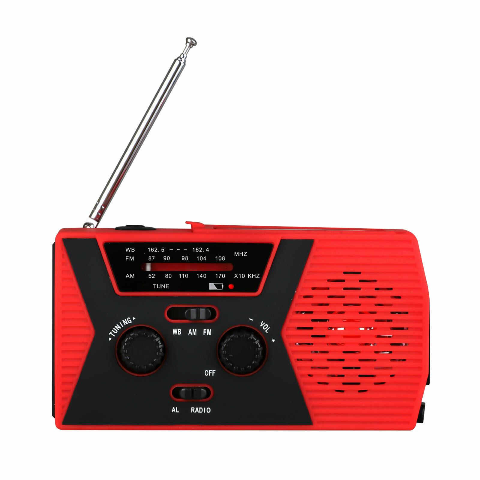 Emergency Solar Crank Radio Charging NOAA Radio with Flashlight Reading Light AM / FM / NOAA red