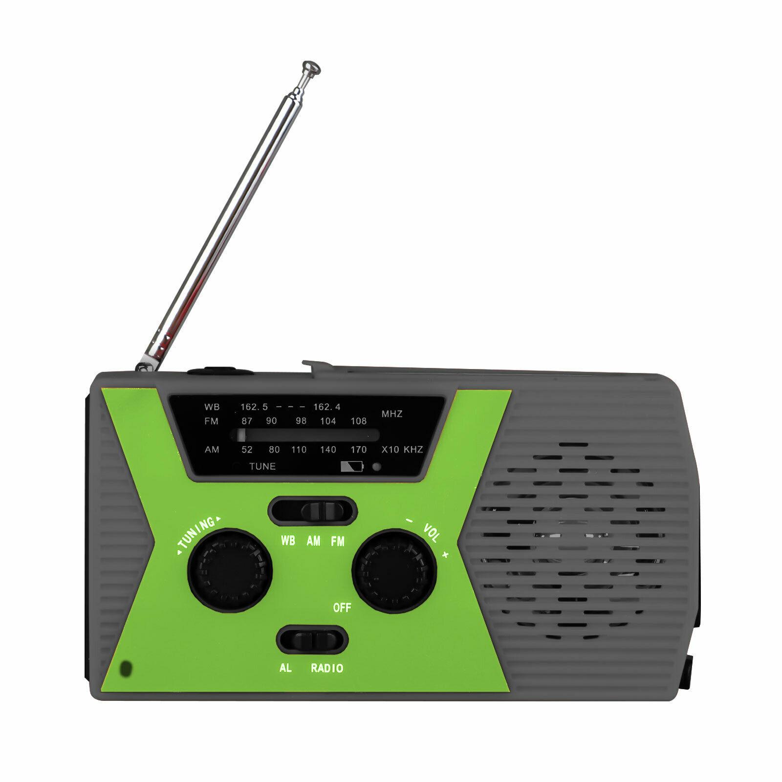 Emergency Solar Crank Radio Charging NOAA Radio with Flashlight Reading Light AM / FM / NOAA green