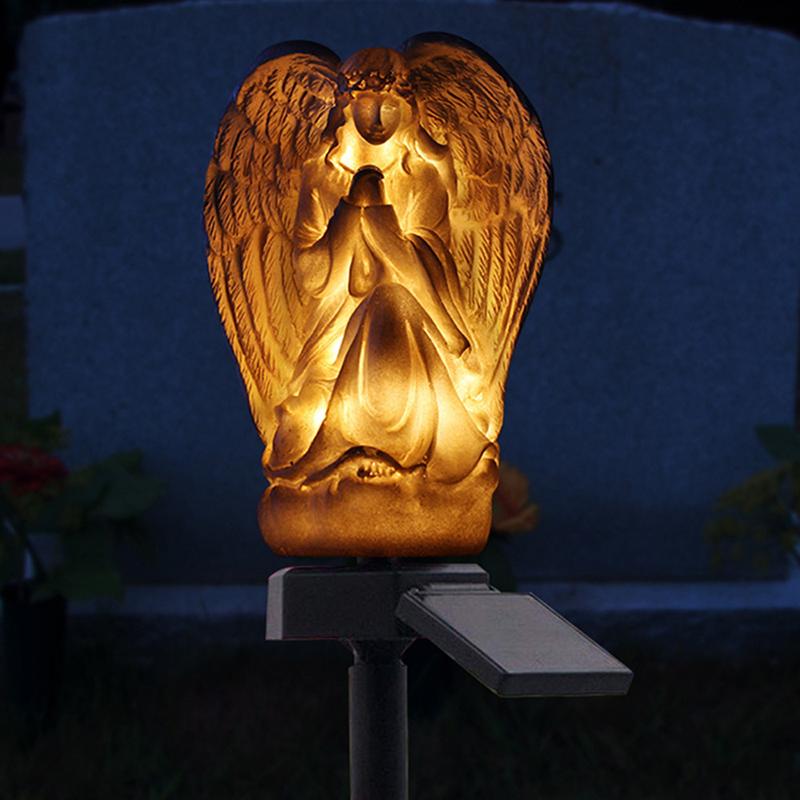 Simple Angel Shape LED Solar Powered Light for Garden Lawn Decoration Warm white light_LED Solar Angel Garden Light