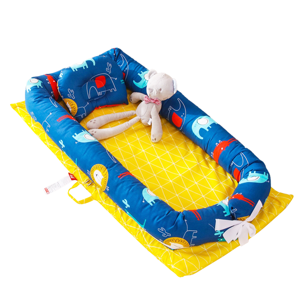 4 Pcs/set Baby  Crib Cotton Cartoon Portable Removable Washable Bionic Bed Lion Homeland Blue (without quilt)_90*50cm