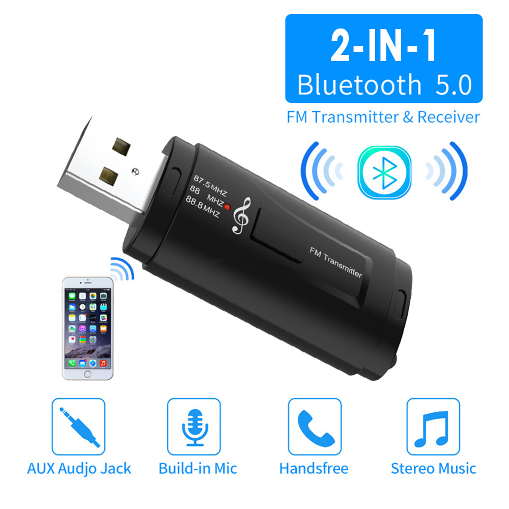 2 in 1 USB Bluetooth Receiver Transmitters 5.0 Wireless Stereo Bluetooth AUX USB 3.5mm Jack For TV PC Car Kit Wireless Adapter black