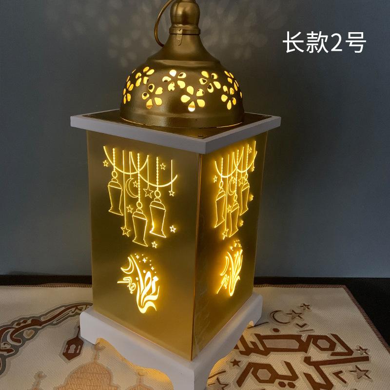 Muslim Ramadan Wind Lamp LED Light Wooden Hanging Pendant Eid Festival Holiday Decoration Long -2