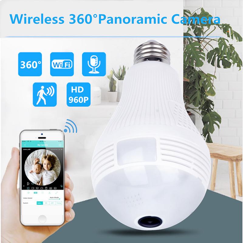 Camera Wifi 360 Security Camera Bulb Lampada Ip Lamp Wireless Panoramic Home Cctv Fisheye Home Security as picture show