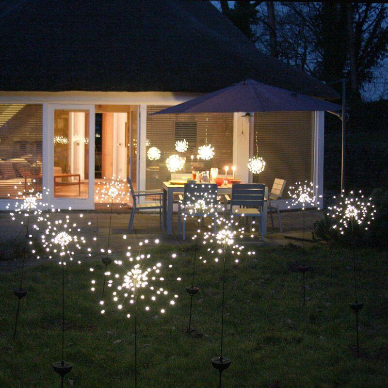 2PCS Solar Powered Lawn Light Waterproof Fireworks Copper Lamp String for Christmas Decor White light_2 mode 120LED-white light