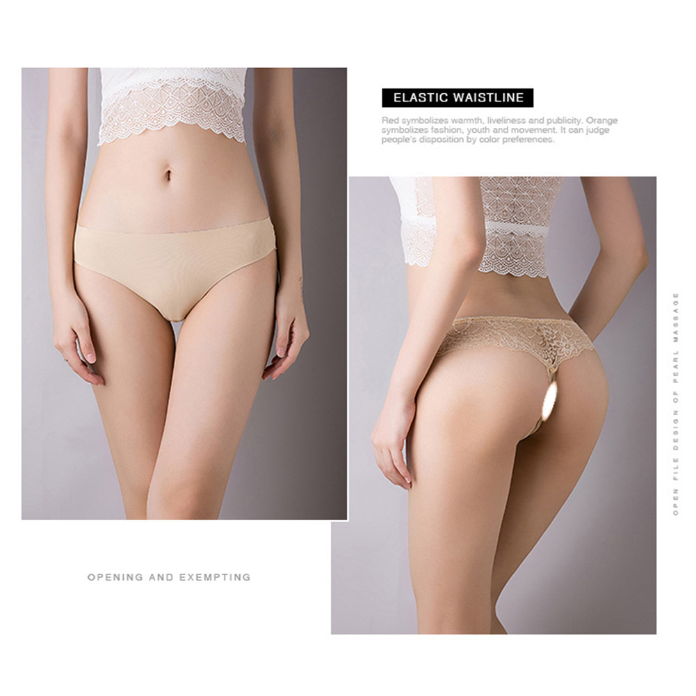 Women Seamless G-string Ice Silk Low Waist Sports Fitness Underwear Briefs Panties Flesh