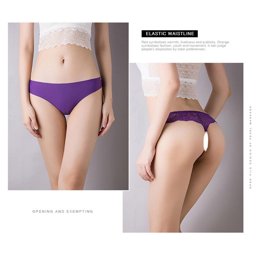 Women Seamless G-string Ice Silk Low Waist Sports Fitness Underwear Briefs Panties purple