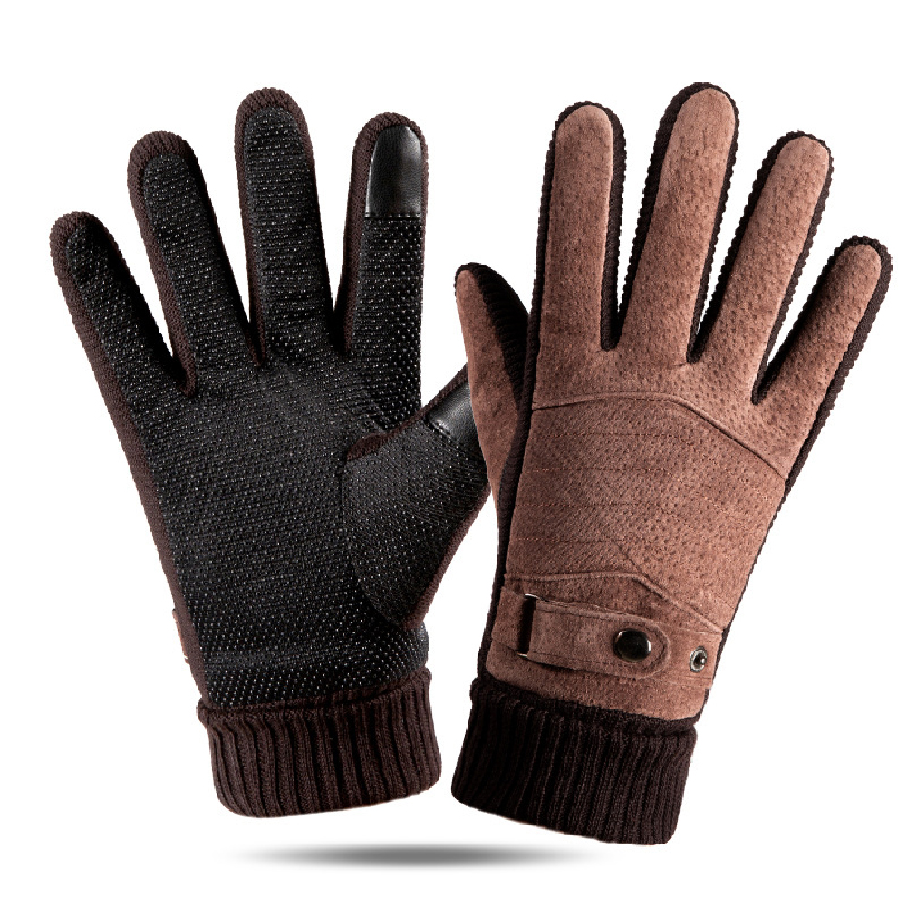 Leather Glove Winter Glove Winter Pigskin Glove Ride Bike  Pointed back brown_One size