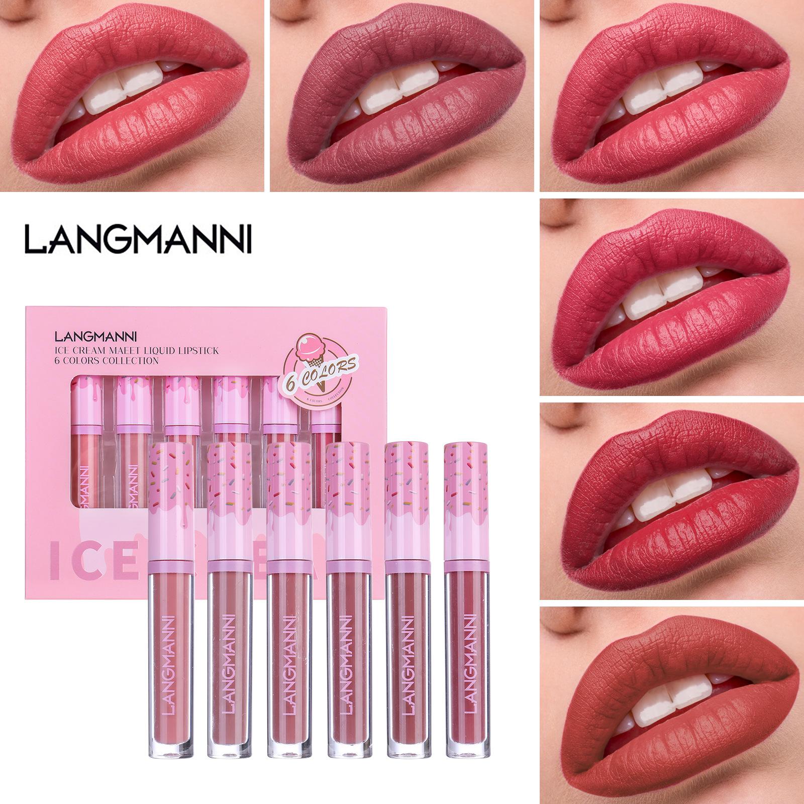 6 Colors/Sets Velvet Matte Liquid Lipstick Lip gloss Sexy Makeup Moisturizer Waterproof Lip Glosses Gift Box B
