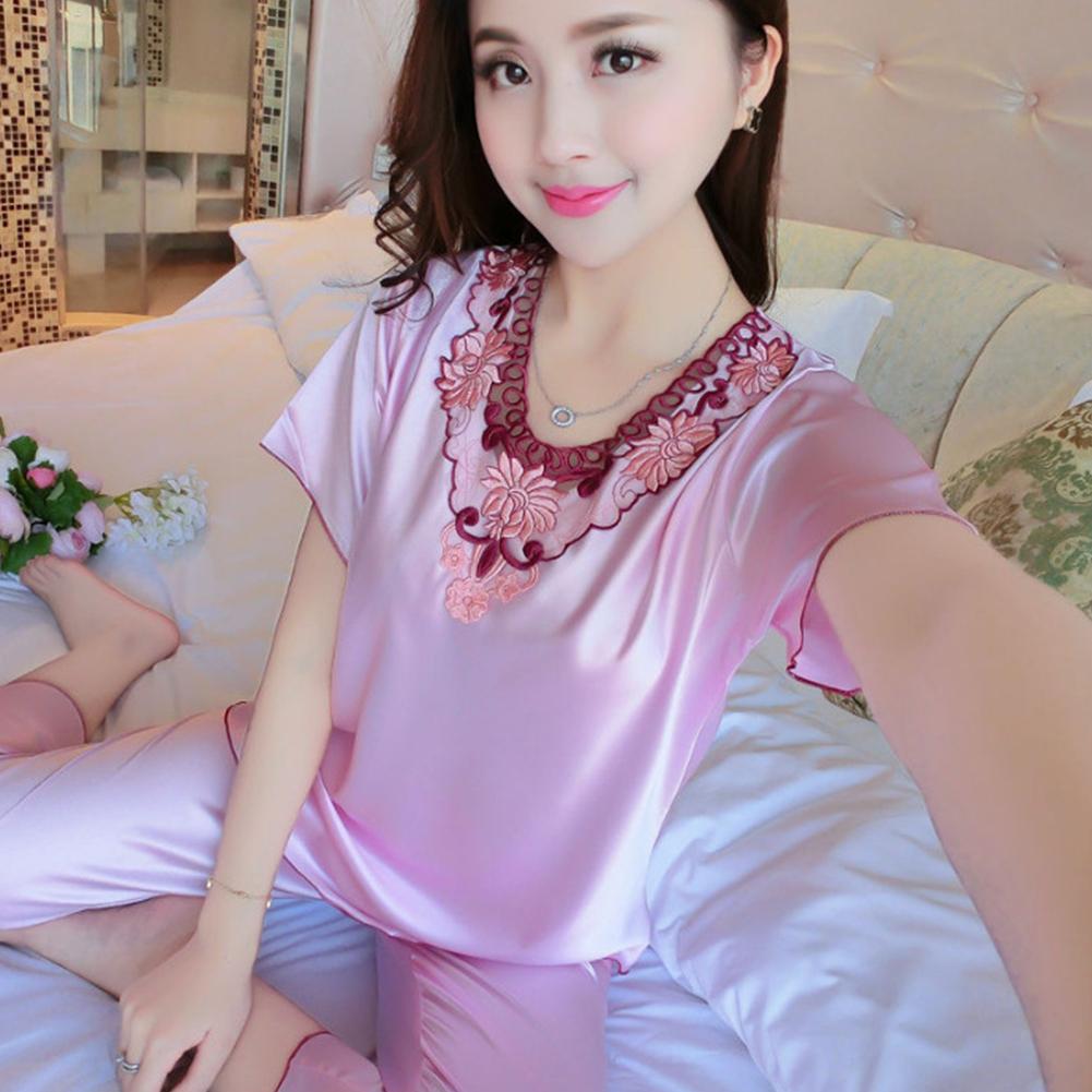 Women Pajamas Sets Thin Pants Short Sleeve Tops Sleepwear Suit Pink_L