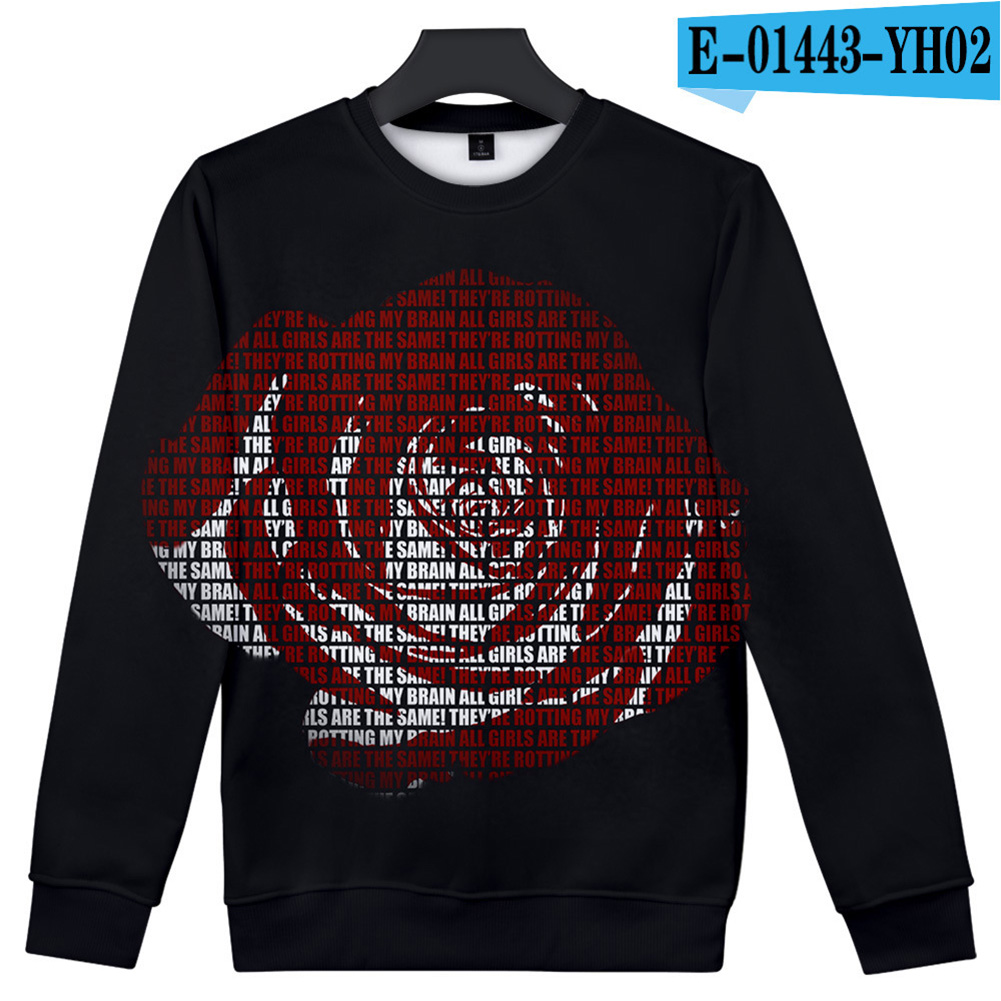Men Women Sweatshirt Juice WRLD Portrait Flower Skull Crew Neck Unisex Loose Pullover Tops E-01443_XL
