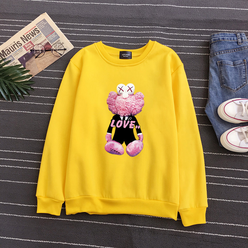 KAWS Men Women Hoodie Sweatshirt Cartoon Love Doll Thicken Autumn Winter Loose Pullover Yellow_M