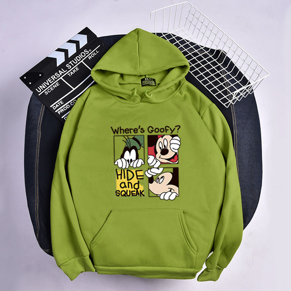 Men Women Hoodie Sweatshirt Micky Mouse Cartoon Thicken Autumn Winter Loose Pullover Green_L