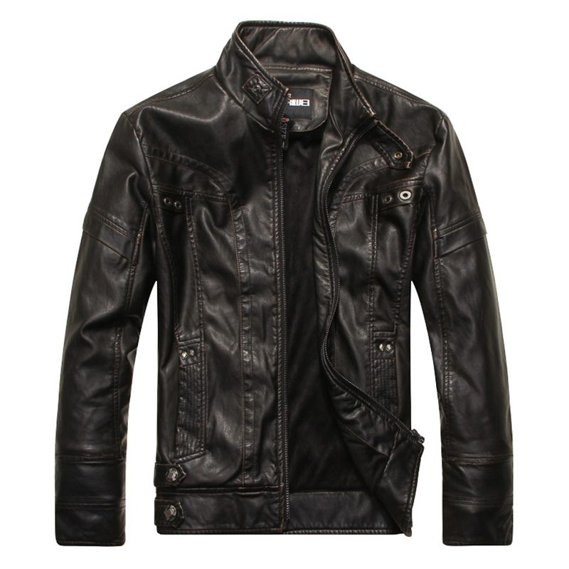 Men Motorcycle Leather Jacket Zipper Cool Fashionable Slim Fit PU Coat Top black_L
