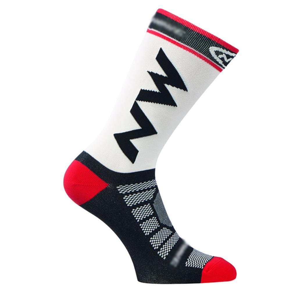 1 Pairs Teen Men's Stripe Pattern Breathable Mesh Nylon Long Socks for Cycling, Running, Basketball white