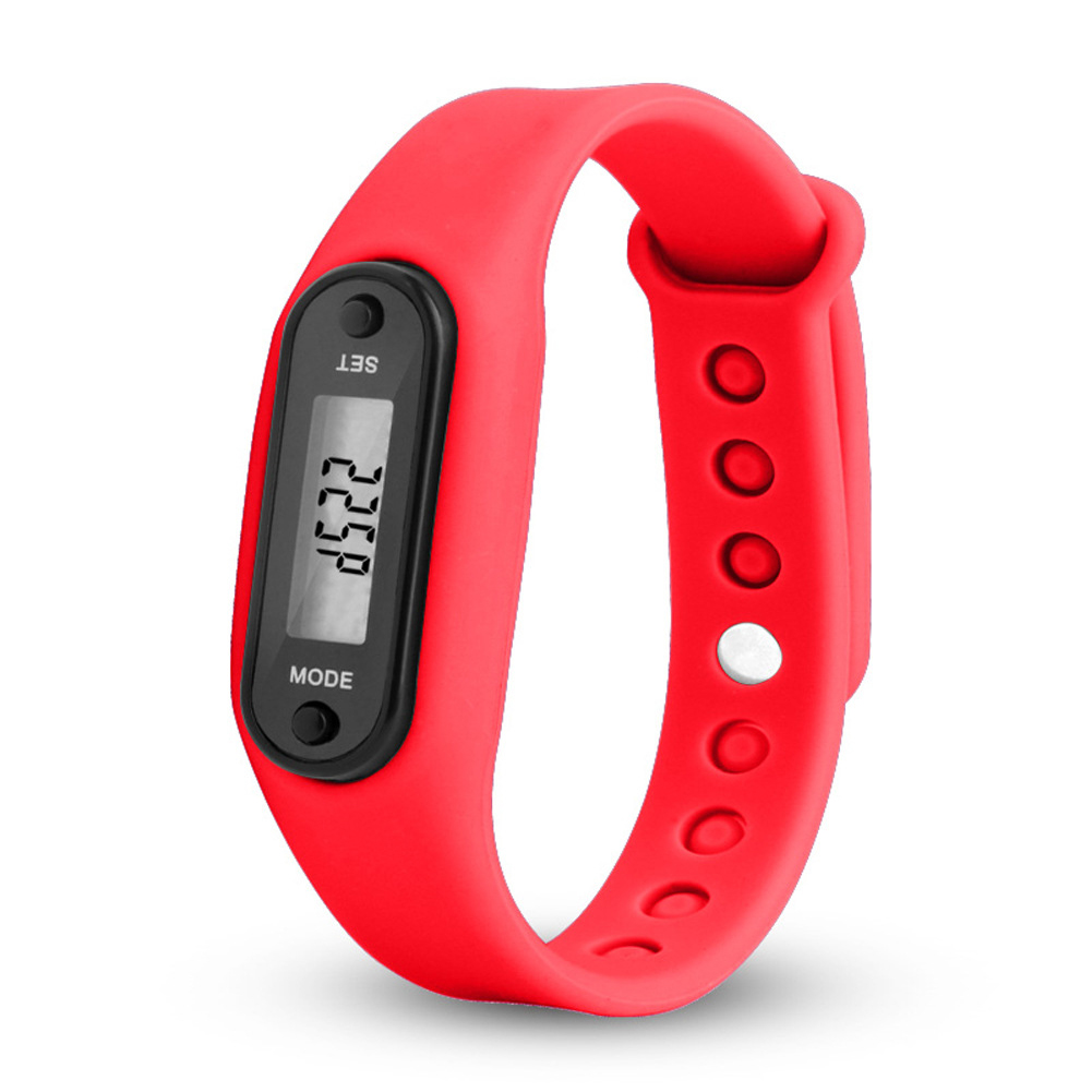 Stylish Colorful Run Step Walk Watch Waterproof Pedometer Bracelet Replacement WristBand with Buckle for Kids Women Men Red