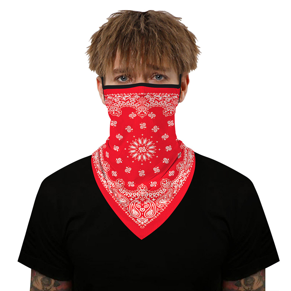 Festival Mask Multi-functional Neck Scarf 3d Digital Print Bandanna Outdoor Cycling Hanging Ear Bug Mask BXHE005_One size