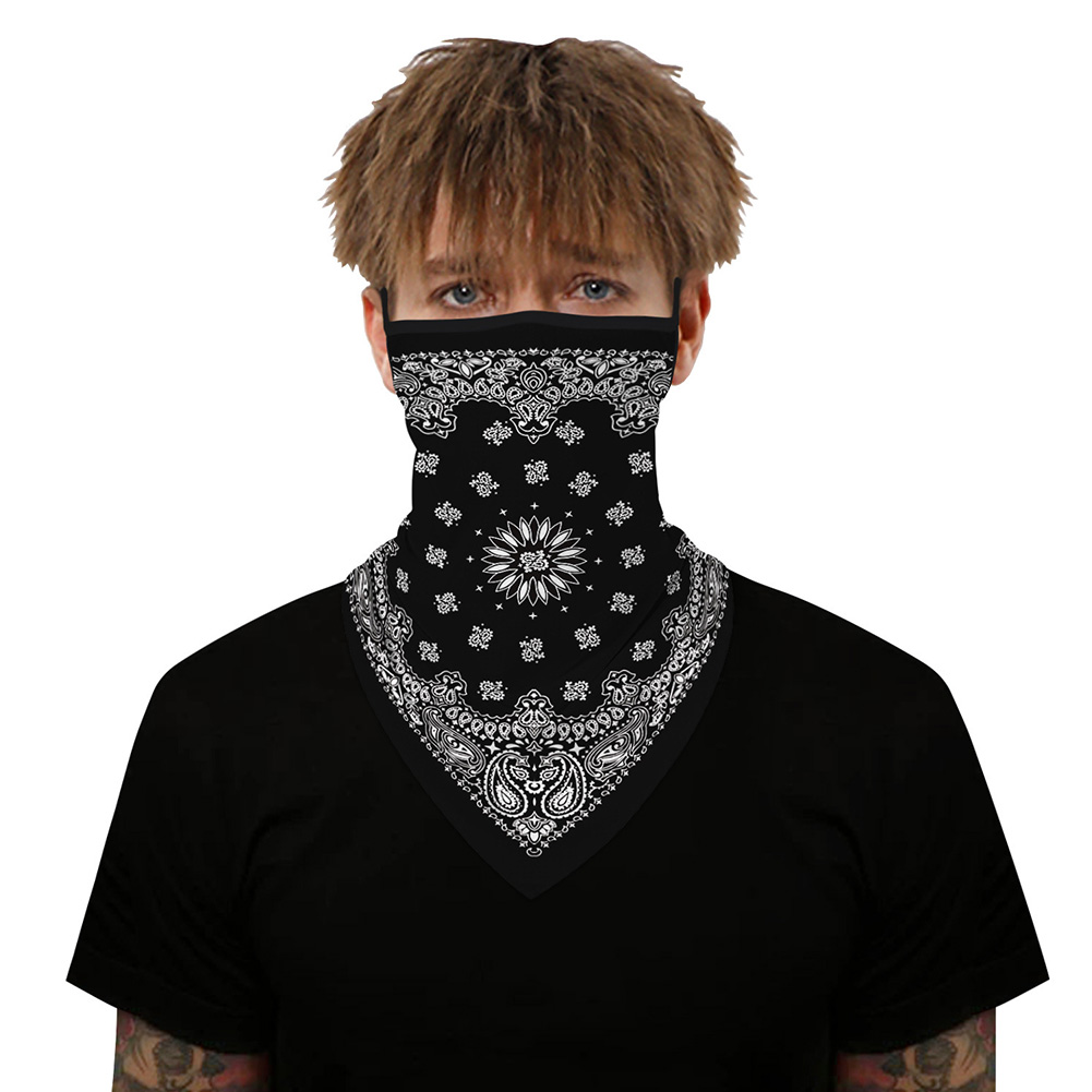 Festival Mask Multi-functional Neck Scarf 3d Digital Print Bandanna Outdoor Cycling Hanging Ear Bug Mask BXHE007_One size