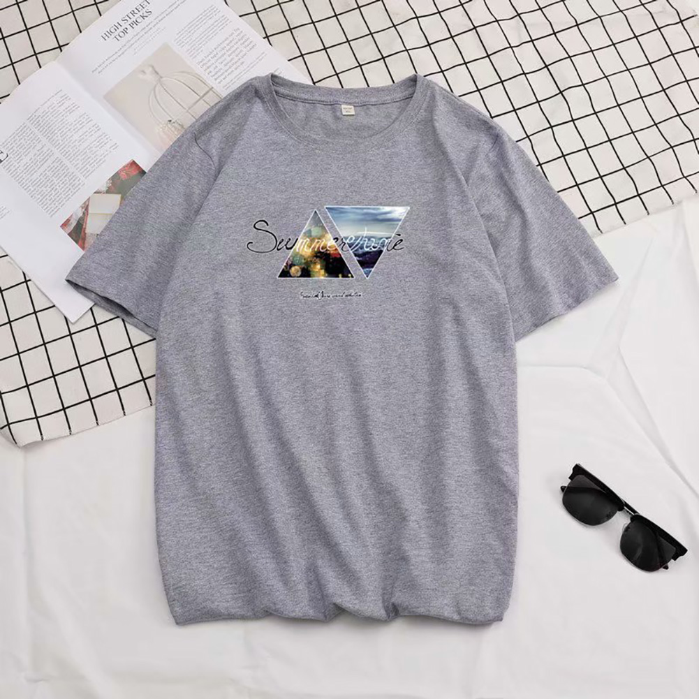 Men Summer Fashion Short-sleeved T-shirt Round Neckline Loose Printed Cotton Bottoming Top XL_614 gray