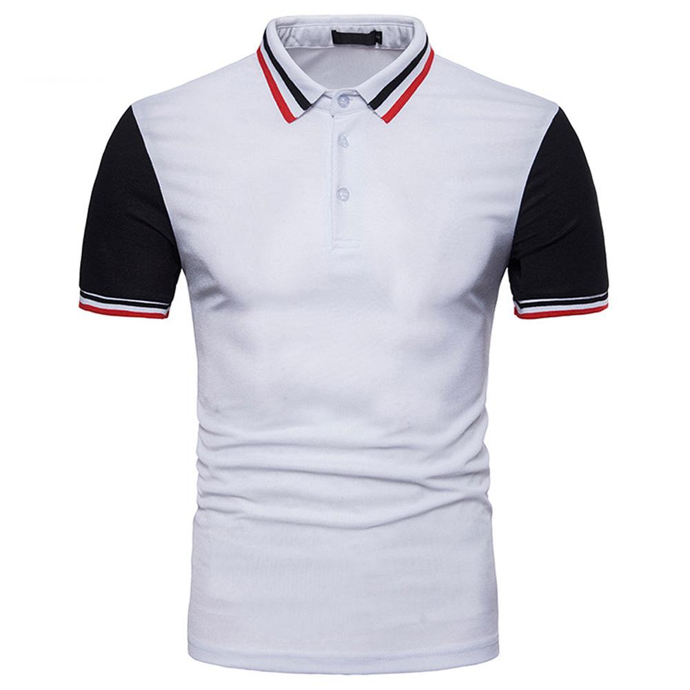 Men Summer Fashion Threaded Collar Short Sleeve POLO Shirt Tops white_S