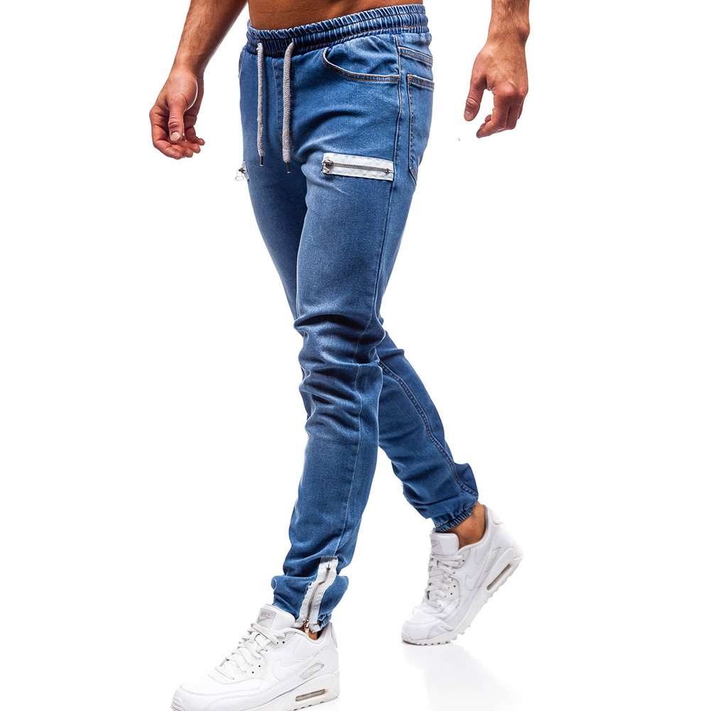 Men Fashion Casual Loose Frosted Zip Up Sports Jeans Denim Pants Trousers Navy blue_L