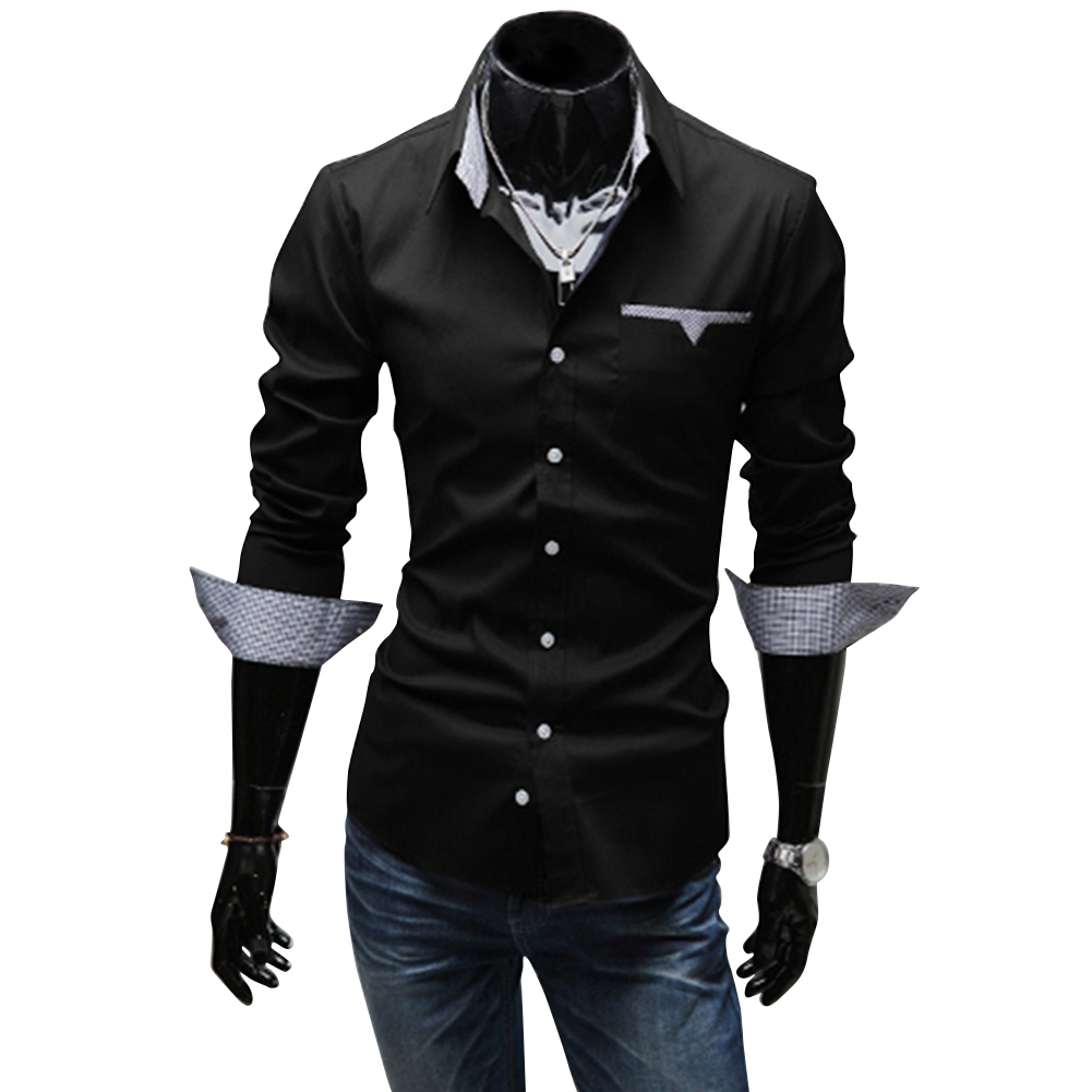 Men Casual All-match Business Solid Color Pocket Formal Shirts black_XL