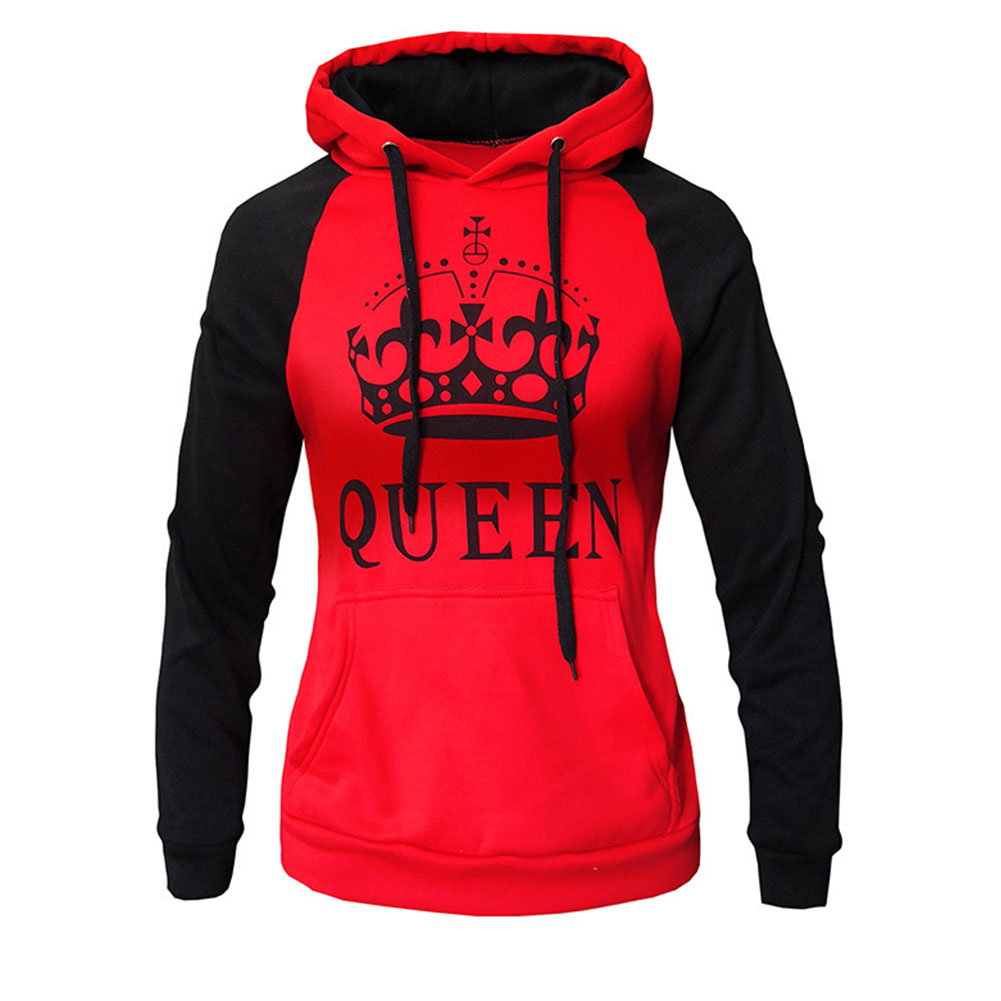 Wen and Women Couple Hooded Black and White Loose Pullover Shirt red-QUEEN_2XL