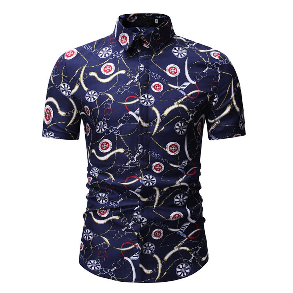 Men Summer New Casual Short Sleeve Flower Cotton Loose Shirt Tops blue_M