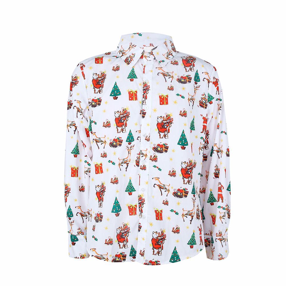 Christmas Cartoon Printing Male Lapel Shirt Men Blouse Shirt for Man white_XXL