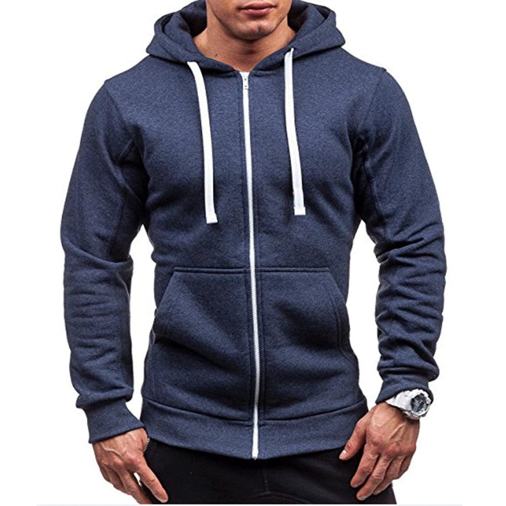 Men Warm Solid Color Zipper Slim Fleeced Hooded Sweatshirt Navy_L