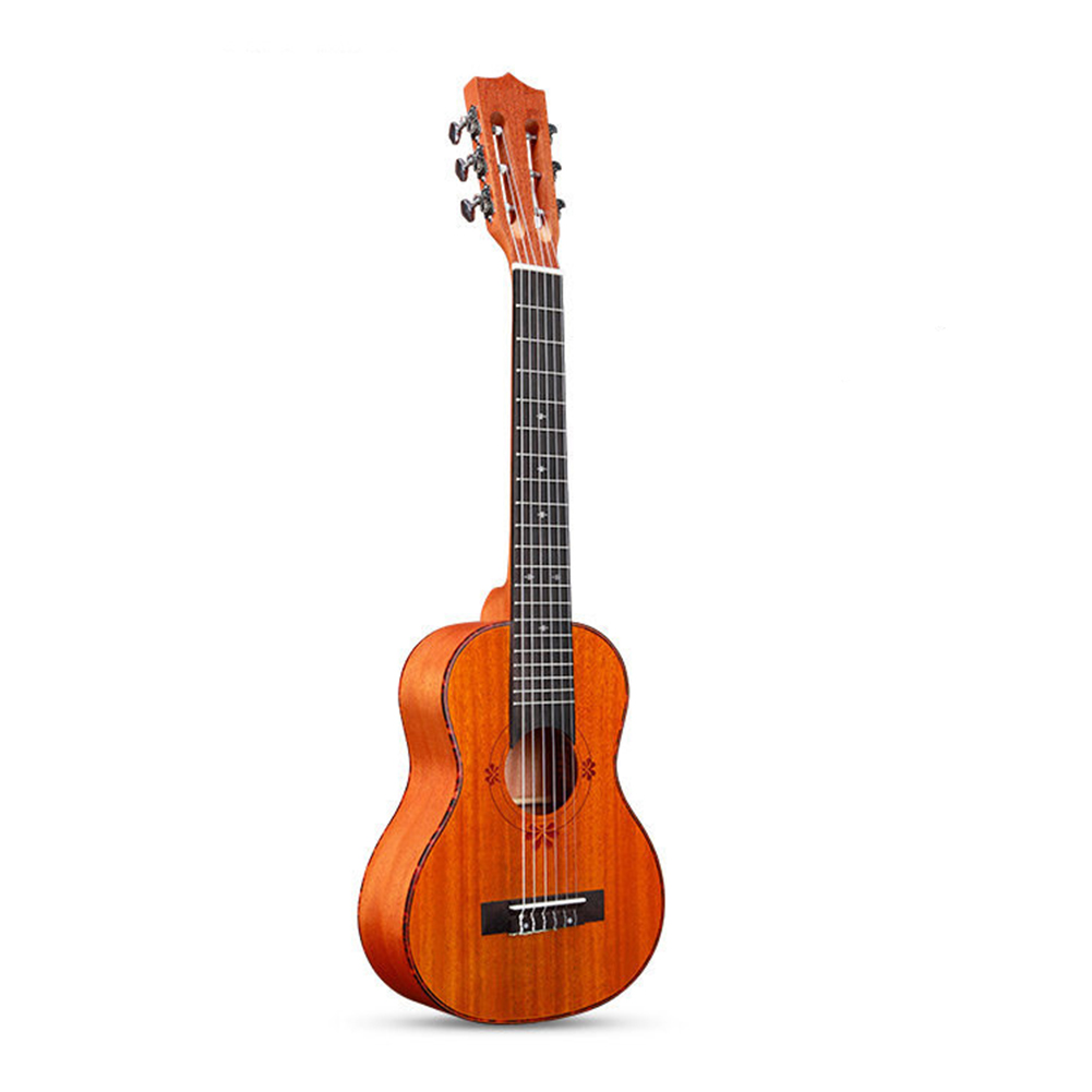 30 Inch 20 Fret Guitar Guitarlele Ukulele 6 Strings Guitarlele 30 inches_Piano with pattern peach core