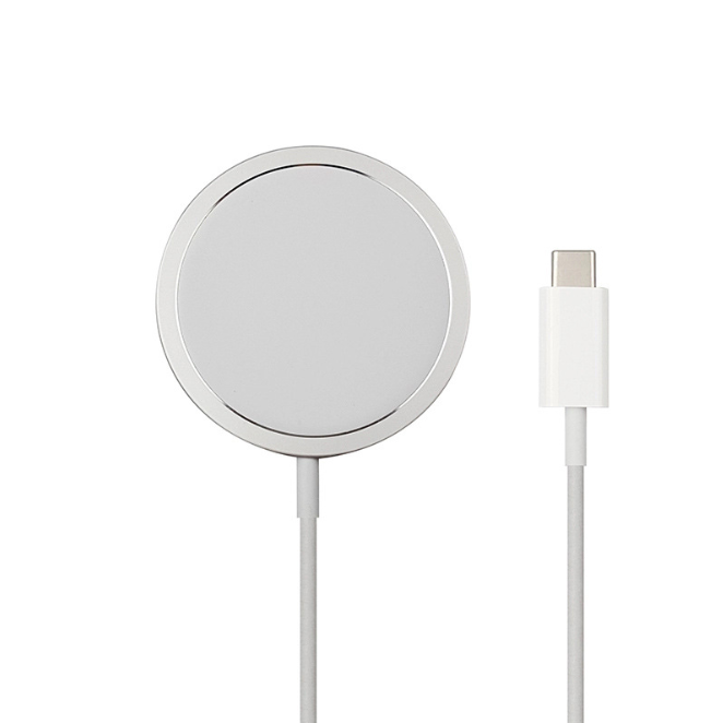 Magnetic Wireless Charger Fast-Charging Intelligently Identify Charging Power Charger 15W Aluminum Alloy-Silver