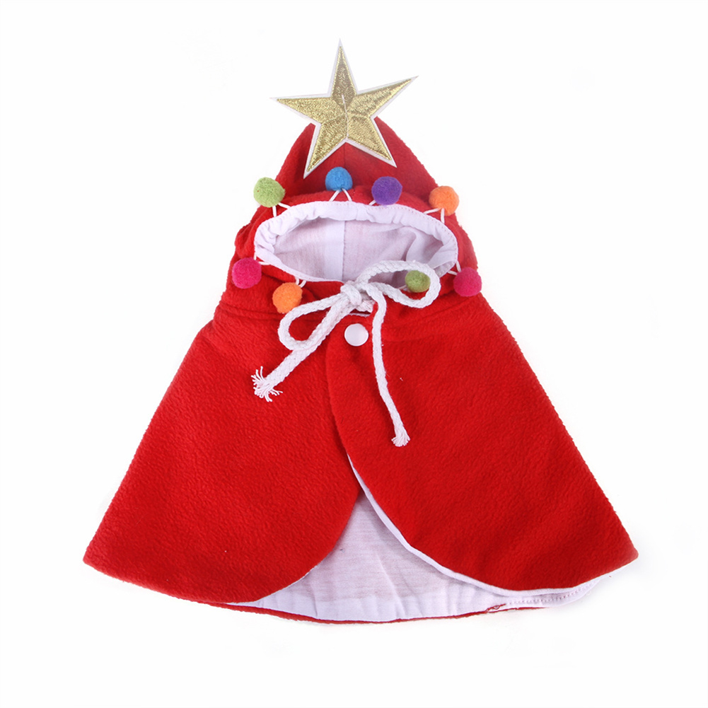 Christmas Cloak Halloween Hooded Clothes for Small Dogs Cat Pet Photos Props Accessories red_M