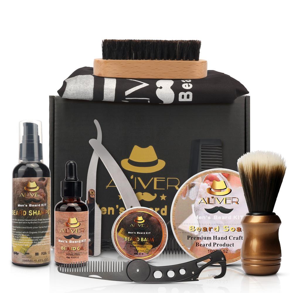Beard Care Tool Men Beard Repair Caring Kit Beard Brush Oil Shaver Comb as picture show
