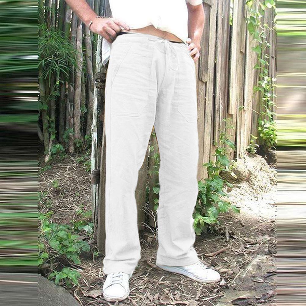 Man Plain Straight Track Pants Jogger Drawstring Slacks Casual Pants white_L