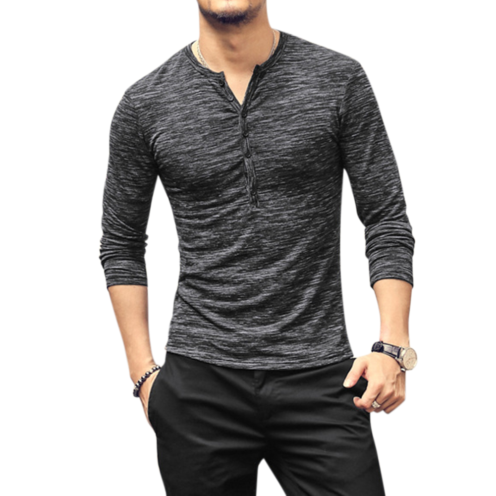 Men Stylish Long-Sleeve Slim T-Shirt Simple Solid Color Button Tops Base Shirt gray_L