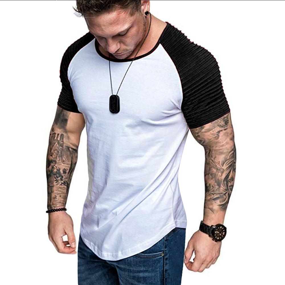 Men Casual Sports T-shirt Thin Slim Fashion Matching Color T-shirt White with black_XL
