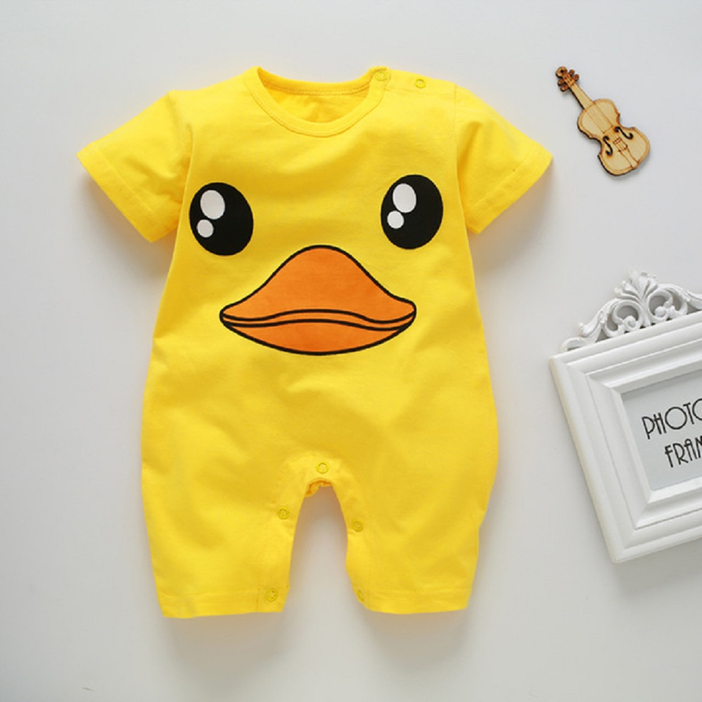 Newborn Infant Baby Boy Girl Cartoon Printing Short Sleeve Romper Bodysuit  Yellow Duckling_73CM