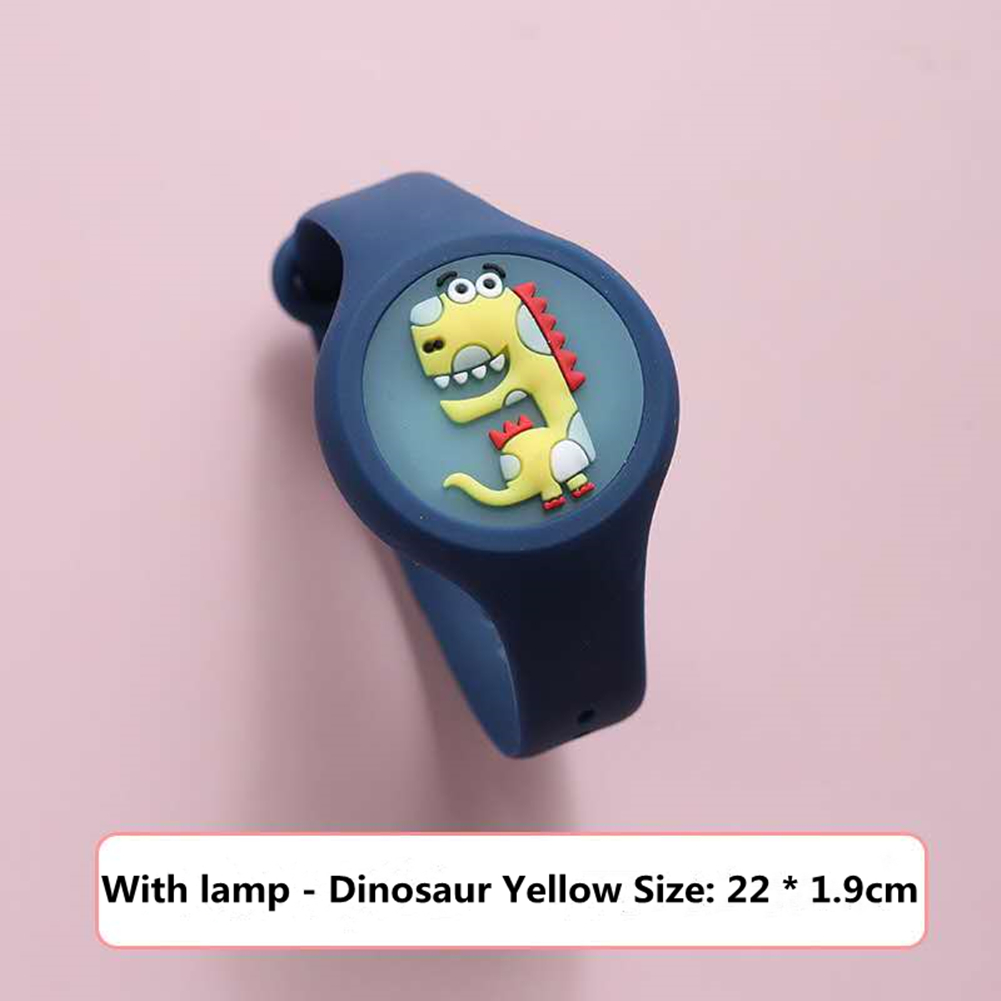 Indoor Cartoon Anti Mosquito Repellent Bracelets Baby Infant Children Luminous Hand Ring Dinosaur yellow